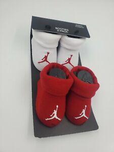 2 Pair Nike Air Jordan Baby Booties, Size 0-6 Months, Shower Gift, Red White B1