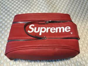 Supreme Leather Utility Bag Organizer Pouch Red Brand New Handbag