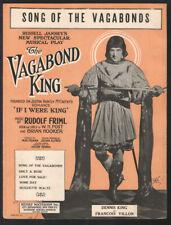 VAGABOND KING Friml 1925 DENNIS KING Vintage Broadway Sheet Music Q22