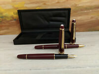 Vintage MONTBLANC Meisterstuck Burgundy 163R Rollerball Pen & 144R Fountain Pen