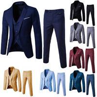 New Men's Suit Slim Suit Blazer Business Wedding Party Jacket Vest Pants 3-Piece