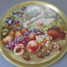 "Antique FRENCH Limoges 18"" Porcelain Charger Wall Plaque FRUIT + Roses * GOLSE"