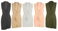 New Womens Celeb Sleeveless Belted Crepe Open Long Waistcoat Top Ladies Jacket