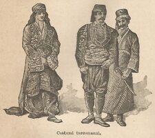 A9600 Costumi turcomanni - Xilografia - Stampa Antica del 1906 - Engraving