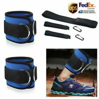 Fitness Exercise Gym Weight Lifting DRing Ankle Straps Cable Attachment Strap US