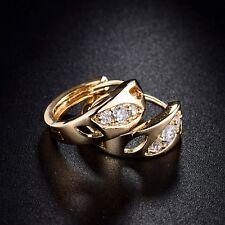 Ladies 18K Gold Filled Swarovski Crystal New Fashion Hoop Earrings Jewellery
