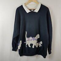 Vintage Cats Collared Sweatshirt Extra Large Size XL Black Vtg Sweater Jumper