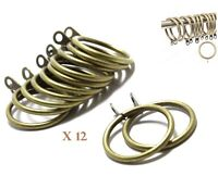 12 x GOLDEN BRONZE CURTAIN RINGS POLE ROD CURTAINS RING HANGING BRONZE RING