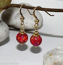 rote Opal Ohrringe 8mm Kugel synth. orange gelb – 925 Silber vergoldet– Hänger