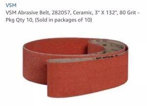 """VSM Abrasive Belt, 282057, Ceramic, 3"""" X 132"""", 80 Grit - Pkg Qty 10"""