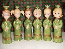 Vintage 6pc Handmade/Painted Christmas Carolers Ceramic Candle Holders 3 Boys/ 3