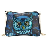 DIY Owl Special Shaped Diamond Painting Women Leather Chain Crossbody Bags N#S7