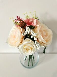 GLASS VASE WITH ARTIFICIAL ROSES PEONIES FLOWERS DECORATIVE CENTERPIECE BOUQUET