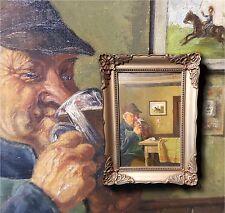 Bi-annegamento Uomo in camera. Bello antico Dipinto a olio autografato TOBIEN,