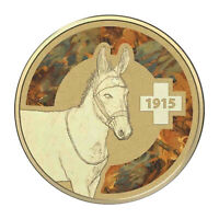 Australia 2015 Unlikely Heroes Animals In War Donkey $1 Coloured UNC Coin Carded