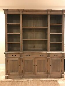 NEW French Provincial Bookcase Library Weathered Oak Hudson Furniture