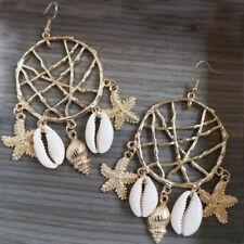 Vintage Sea Shell Circle Statement Dangle Drop Tassel Earrings Women Jewelry FG