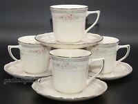 Noritake Rothschild 4 SETS CUPS & SAUCERS Japan,  Floral, Platinum Trim, EXC!