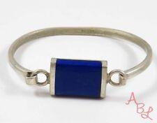 Sterling Silver Vintage 925 Mexican Bangle Lapis Bracelet 7'' (19.1g) - 728424