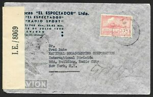 Uruguay Airmail Cover to USA, Censored by British at Trinidad, Radio 1943