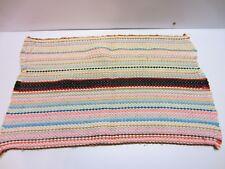 Vtg Hippie Boho Chindi Multi Color Stripe Small Hand Woven Throw Rag Rug