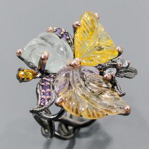 Handmade SET Ametrine Ring Silver 925 Sterling  Size 8.5 /R177915