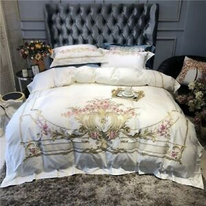 2020New Luxury Gold Royal Embroidery 100S Egyptian Cotton Palace 4 Piece Bedding
