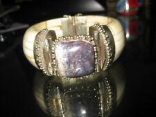 Vintage Retro Asian Wide Bone Bangle Bracelet~Purple Jasper~Silver Findings