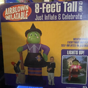 New 2004 Gemmy Witch With Broom Lighted Halloween AirBlown Inflatable
