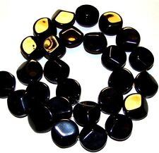 NG518 Black Obsidian 15mm Faceted Round Coin Natural Gemstone Beads 20pc