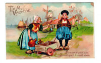 "Antique 1900's TUCK Postcard ""To My Valentine"" Dutch Couple Series 119 PC0002"