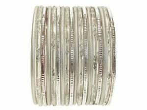 2.12 XL Silver Glass Sari Bangles Indian Bollywood Belly Dance Jewelry Bracelets