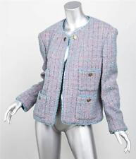 CHANEL BOUTIQUE Womens Classic Pink+Blue Boucle Long-Sleeve Blazer Jacket L