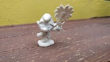 "VTG RARE SMURF PITUFO WITH FLOWER MEXICAN WHITE RUBBER 2"" FIGURE MEXICO"