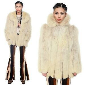 Vintage 70s Fox Fur Arctic Leather Strip Boho Glam Plush Chubby Jacket Coat S