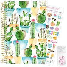 2021 White Cacti Calendar Year Daily Planner Agenda 12 Month January - December
