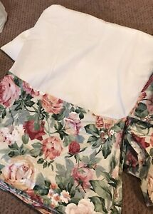 """CROSCILL """"ROSE ARBOR"""" FLORAL QUEEN BED SKIRT - COUNTRY COTTAGE EUC!!!"""