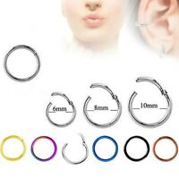 TITANIUM CLICKER SEPTUM PIERCING HELIX RING HINGED EAR SEGMENT TRAGUS HOOP LIP