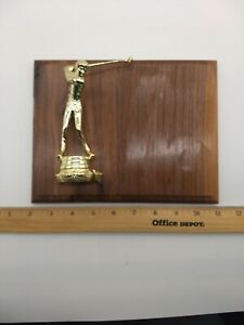 9 X 7 inch Vintage gold golf Trophy wood plaque