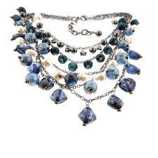 "Chico's Blue Beaded Statement Fringe Multi strand Necklace 4x18-23"""