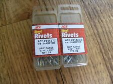 "Lot Of 40 Ace Hardware Steel Rivets 3/16""-1/4"" Grip Range 1/8"" D 2014272"