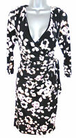 Stunning Coast Blur Floral Print Ruch Mock Wrap Evening Occasion Dress Size 12
