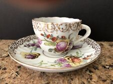 ANTIQUE DRESDEN DEMITASSE SCALLOPED FLORAL SAUCER AND CUP W/ GOLD SCROLL TRIM