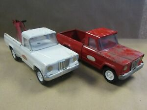 Lot of 2 Vintage Tonka Pick Up and Tow Trucks Red & White 1960's Pressed Steel