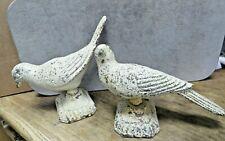 2 Vintage Cast Iron Metal Birds Dove Pigeon Figurine Statue Bookends Doorstops