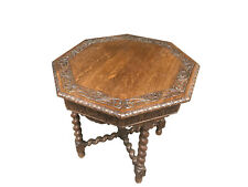 Antique French Tudor End Table or Occasional, Barley Twist, 1920's, Oak