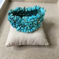 "Turquoise Stone 1"" Wide Western Southwest Stretch Bracelet Jewelry"