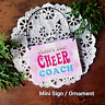 DecoWords Mini Sign Ornament * WORLDS Best CHEER COACH Gift Cheerleader New USA