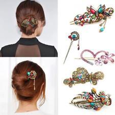 Hot 16 Styles Retro Crystal Rhinestone Bow Flower Hairpin Hair Clip Hair Stick 9#