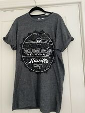 topman mens grey cotton 'sublime recordings' graphic tshirt Medium